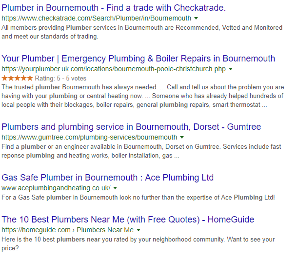 Google Standard Results